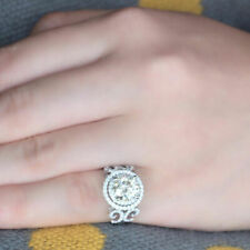 Halo Wedding Ring 925 Sterling Silver 2.15Ct Off White Round Moissanite Double