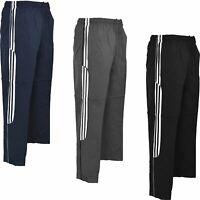 Mens Tracksuit Bottoms 3 Stripe Trousers Zip Pockets Jogging Sport Gym S-XXL