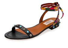 Valentino Garavani Rockstud rodante bordado sandalia baja zapatos negros 36