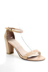 Stuart Weitzman  Womens Ankle Strap Patent Leather Sandals Nude Size 9.5