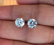 Mens Ladies 2.00 ct. Lab Diamond 18K W Gold Filled Screw Back Stud Earrings 8mm