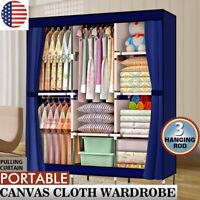 "71"" Portable Clothes Storage Closet Organizer Wardrobe Rack Shelves Fabric Steel"