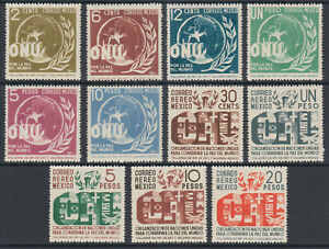 Mexico Sc 813/C162 MNH. 1946 United Nations, complete set of 11, fresh, VF.