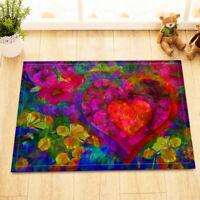 Heart Watercolor Flowers Non-skid Door Bath Mat Room Decor Rugs Floor Carpet