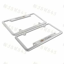 NEW 2PCS For CADILLAC Silver Metal Stainless Steel License Plate Frame