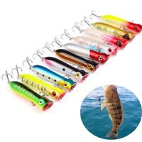 Artificial Bionic Bait Popper Fishing Lures Two Hooks Plastic Hard Crank