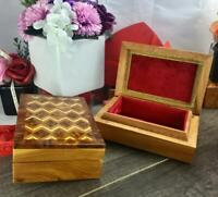Set of 2 keepsake handmade thuya burl wooden Gift boxes, jewelry storage box