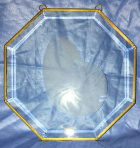 Vintage Sea Shell Clear Glass Hexagon Shaped Sun Catcher 7.5 X 7.5 Pre-owned