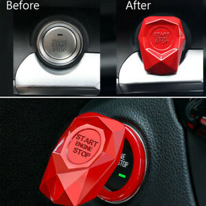 Auto Car SUV Decorative Button Start Switch Protection Cover Accessories Red D