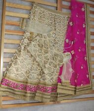 Indian Wedding Bridal Lengha Crop Top Long Skirt Dupatta Gold Pink