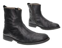 COLE HAAN Combat Boots 9.5 Mens Black Leather Motorcycle Ankle Boots Side Zip