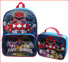 "SABAN'S POWER RANGERS Large 16"" Backpack + Insulated Lunch Box - BLUE *NEW*"