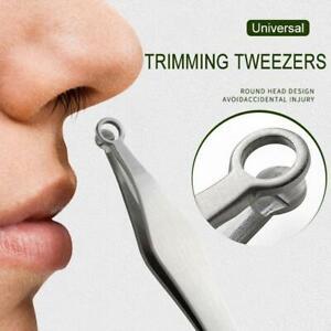 1*Universal Nose Hair Trimming Tweezers Steel Eyebrow Nose Hair Cut