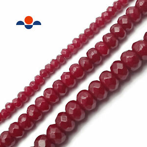 """Ruby Red Dyed Jade Faceted Rondelle Beads 2x4mm 4x6mm 5x8mm 6x10mm 15.5"""" Strand"""
