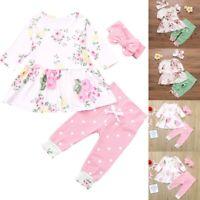 3PCS Newborn Baby Girl Floral Tops Dress Pants Dot Leggings Outfits Clothes Set