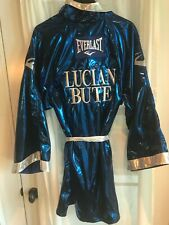 LUCIAN BUTE Everlast Satin Hooded Boxing Robe BLUE Size L 100% Authentic