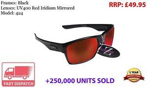 RayZor Uv400 Black Sports Wrap Sunglasses Red Mirrored Lens (424)