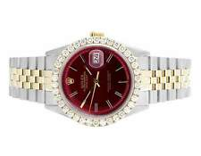 Mens Rolex 18K/ Steel Datejust Oyster Two Tone 36MM Red Dial Diamond Watch 3.5Ct