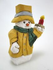 """Bill Browne Wood Carved Snowman Figure Yellow Coat 4.75"""" Folk Art Signed & Dated"""