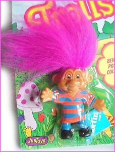 BEND-EMS TROLL Norfin Vintage 1992 Just Toys Bendable RUGBY SHIRT New on Card