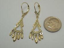 14K Yellow Chandelier Lever Back Dangle Earrings S2447 Made In USA