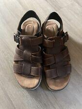 Clarks Unstructured Brown Leather Adjustable Comfort Sandals Men's 13M
