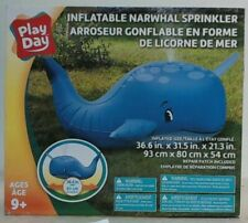 """NEW Play Day TOY88633WM Inflatable PVC Narwhal Sprinkler, Blue, 36.6X31.5X21.3"""""""