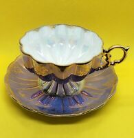 Beautiful Vintage Footed Purple Iridescent Tea Cup & Saucer Royal Sealy Japan