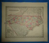 Vintage Circa 1857 NORTH CAROLINA MAP Old Antique Original Colton Atlas Map