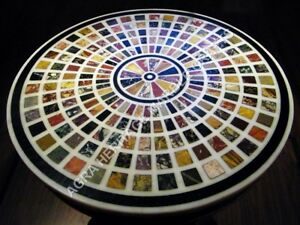 """30"""" Marble Bedroom Center Table Top Multi Mosaic Inlay Furniture Decor H4707A"""