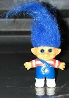 C 1992 Ace Novelty Treasure Troll Doll Jewel Belly Blue Hair Blue Eyes Overalls