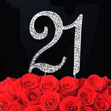 21st Birthday Number Cake Topper Bling Clear Rhinestone Crystal Diamante Silver