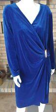 Calvin Klein Plus Size Royal Blue Velvet Long Sleeve  Dress NWT $139 Size 22W