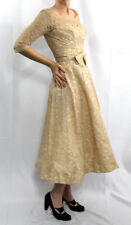 XS Vintage 1950s Kay Selig New York Designer Full Skirt Nude Colored Lace Dress