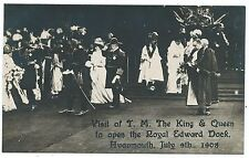 BRISTOL - ROYAL VISIT, 1908, KING & QUEEN at OPENING AVONMOUTH DOCK  RP Postcard