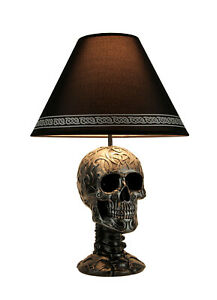 Light of Wisdom Gothic Tribal Skull Table Lamp with Shade