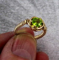Peridot Gemstone Ring in 14kt Rolled Gold wire wrapped  Size 5 to 15