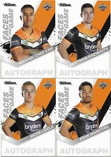 2018 NRL Traders Faces of the Game WESTS TIGERS 4 Card Team Set