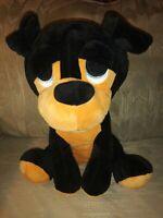 "Best Toy Rottweiler Dog Plush 12"" Sad Eyes Black Brown Puppy Stuffed Animal 2018"