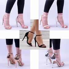Womens Ladies Barely There Strapy Party Occasion Open Sandal High Heel Shoe Size