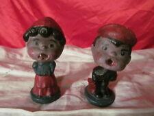 2 Vintage / Antique Chalkware Bubble Heads Lucy Linus Peanuts