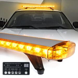 48 In LED Strobe Light Bar Amber Rooftop Emergency Hazard Warning Control Panel