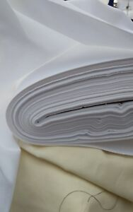 """10m Curtain lining COTTON  SATEEN white fabric 54"""" wide sold/PER METRE/"""