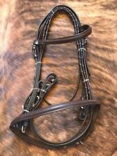 ENGLISH SADDLE HORSE RAISED ENGLISH BRIDLE WITH LACED REINS DARK BROWN LEATHER