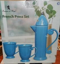 Francois et Mimi French Press Set 3 PieceStoneware Set 2 Mugs and Pitcher