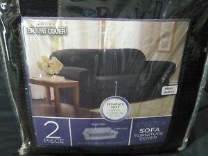 NEW Maytex Smart Cover 2 Piece Stretch Sofa Couch Furniture Protector BLACK