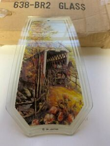 OK Lighting Touch Lamp Replacement Glass Panel Covered Bridge Horse 638-BR2