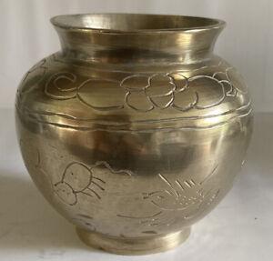 Beautiful Small Vintage Oriental Brass plant pot/vase Engraved