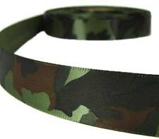 "3 Yds Army Green Military Camoflauge Camo Satin Ribbon 7/8""W"