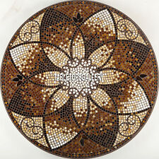 48'' Brown Marble Dining Table Top Mosaic Cubes Inlay Room Decorative Art H3923